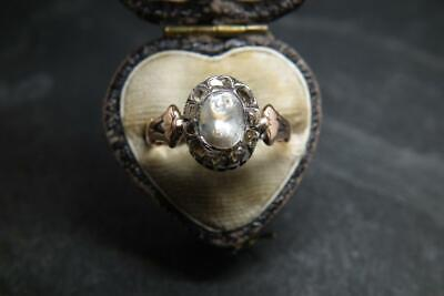 Best Antique Georgian Or Earlier Gold Rose Cut Diamond & Baroque Pearl Ring UK Q
