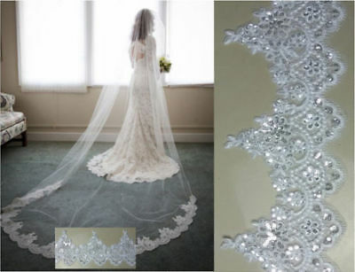 Cathedral Wedding Bridal White Ivory 3M Veils Lace Sequins Edge Veil With Comb