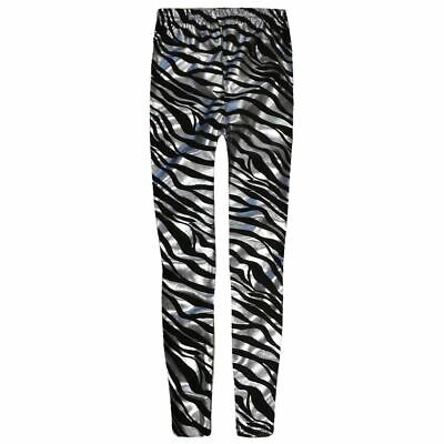 New Girls Animal Zebra Print Shiny Skinny Disco Metallic Leggings Trousers Pants