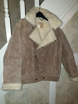vintage Real Suede Borg Shearling Aviator Coat Jacket Leather sheepskin M-L