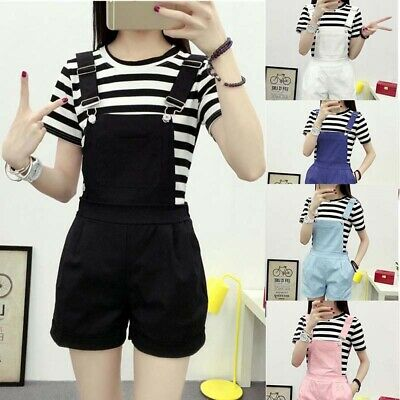 Women Suspender Casual Trousers Shorts Pants Denim Overalls Jumpsuits Play RF