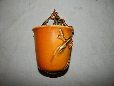 Roseville Pottery Pine Cone Brown Bucket Wall Pocket 1283