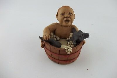 Vintage 1991 BABY IN WASHTUB WITH DOG Sunshine Studio Figurine Figure Statue