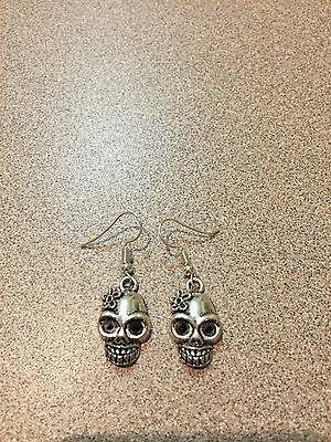 Day Of The Dead SUGAR SKULL EARRINGS WITH FLOWER CHARMS PAIR NEW CAST PEWTER