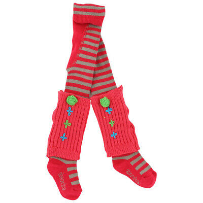 ABSORBA Girls Cherry red & taupe striped tights with legwarmers  27/30 (5-6yrs)