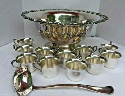Towle Silverplate Pedestal Floral Punch Bowl with 11 Cups & Ladle