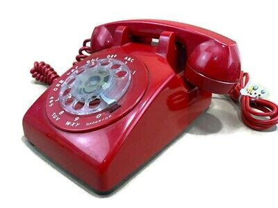 Vintage ITT 500 Red Rotary Dial Mid Century Desk Phone Telephone Bell System