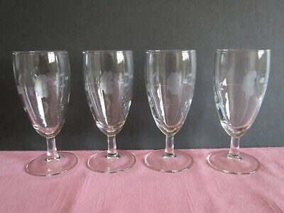 Set Of 4 Princess House Crystal Heritage Pattern Etched Tulip Cordials 5""