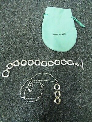 Tiffany & Co Cushion Square Link Toggle Sterling Silver Bracelet & Necklace