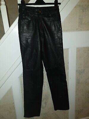 Vintage Genuine Soft Leather Lined Black straight Jeans Trousers high waist xs