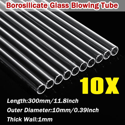 10Pcs 300mm OD 10mm 1mm Thick Glass Tubing Blowing Tube Blow Wall Borosilicate