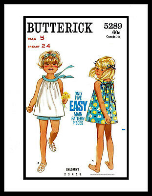 Child ~5~ BUTTERICK # 5289 EASY DRESS FROCK & Shorts Sewing Pattern BABY GIRL