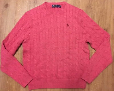 Men's POLO RALPH LAUREN Orange Htr Crew Neck Cable Knit Cotton Jumper L RRP £179