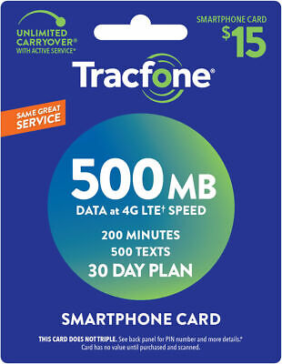 """Tracfone """"Smartphone Card"""" $15 Refill – 500MB, 200 Minutes, 500 Texts (30 days)"""