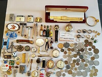 Vintage Collectible Junk Drawer Lot Watches, Buttons, Jewelry Coins Knife