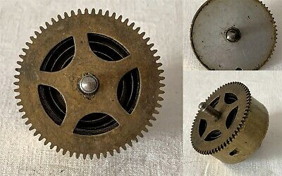 Vintage Brass Clock Barrel, Mainspring & Size 6 Spindle NO KEY #4