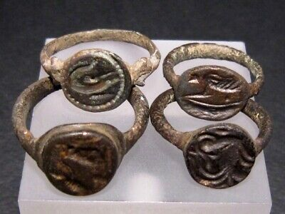 LOT OF 4pcs. VERY RARE ROMAN INTAGLIO SEAL BRONZE RINGS, from an OLD COLLECTION+
