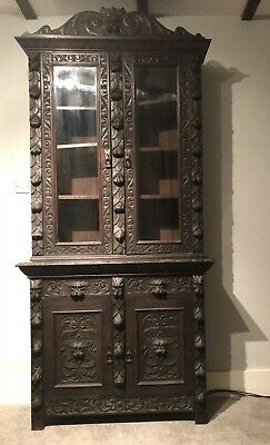 Antique Oak Victorian Carved  Green Man Gothic Bookcase Display Cabinet