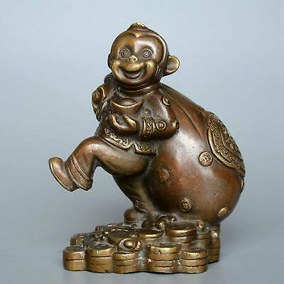Collectable Old Bronze Hand-Carved Naughty Monkey Carry Wealth Delicate Statue