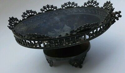 VTG SILVER tarnish ORNATE footed ENGRAVED bowl tray carved floral gothic antique
