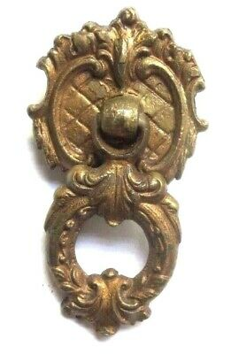 Antique Victorian Drop Bail Pull Handle 4111 Solid Cast Brass Diamond Pattern