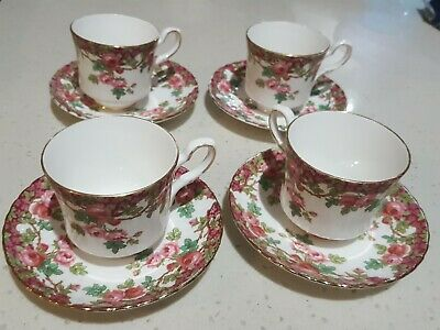 Royal stafford bone china 'olde english garden' set of four cups /saucers