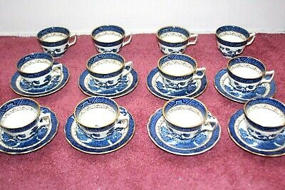 REAL OLD WILLOW Booths England 12 Cups 8 Saucer Plates 20 Piece Lot  A8025