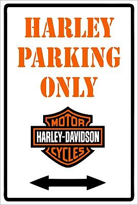HD Harley motorcycles parking only tin metal sign MAN CAVE