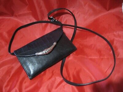 Brighton Black Leather Purse Wallet Checkbook Cover Credit Cd.Crossbody Bag Croc