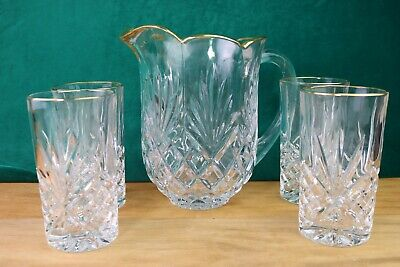Godinger Dublin Gold Trim Crystal Highball Water Glass Tumblers and Pitcher 5 pc