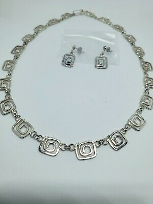 Taxco Mexico 925 Sterling Silver Necklace & Earrings Set
