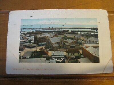 Vintage Postcard Fremantle And Harbour -1909 (RARE) With 1 Penny Swan WA Stamp