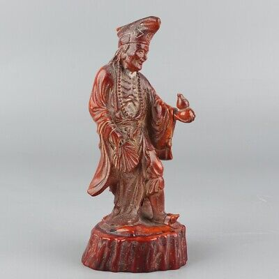 Chinese Exquisite Hand carved antlers Chai gong statue