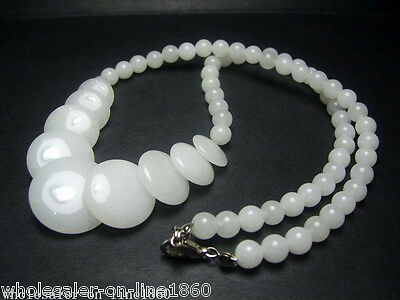 White Jade Gemstone Round Beads &Coin Beads Charm Beads Necklace 17''AAA+