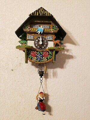 Cute VTG German Black Forest Girl On Swing Cuckoo Wall Clock Quartz Movement