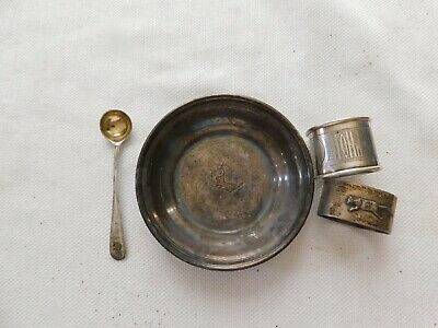 Lot of 4 Misc Antique Sterling Silver Plate etc All Marked 160 Grams