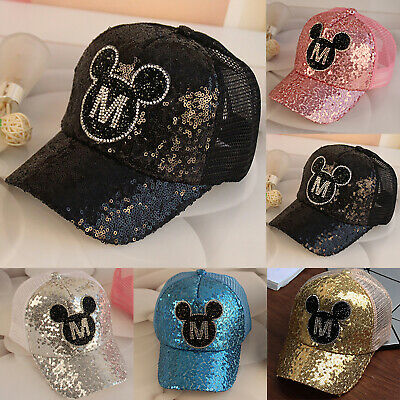 Kids Boys Girls Sequin Mickey Mouse Baseball Cap Sport Snapback Hip Hop Sun Hat