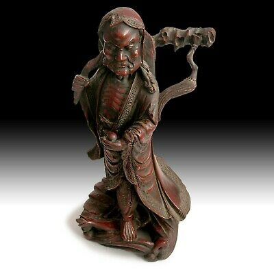 Zen Master Bodhidharma Da Mo Antique Chinese Lacquered Camphor Wood Statue 達摩禪師