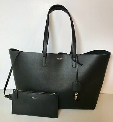 Nearly New!  Yves Saint Laurent Ysl Shopping Leather Tote Bag & Pouch , Black