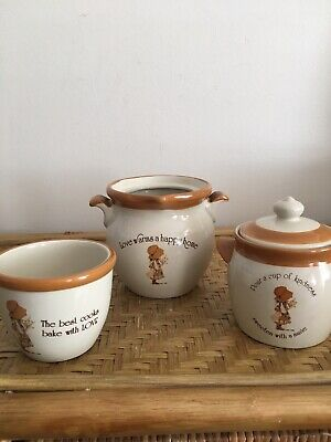 Holly Hobbie Stoneware Salt Brown 3 Items 2 Canisters 1 Dish