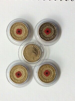 2018 30th anniversary of $2,  1 red poppy ANZAC REMEMBRANCE coin as in 2012, UNC