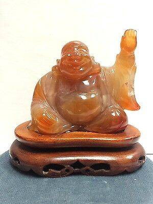 Chinese Hand Carved Brown Agate Buddha Statue
