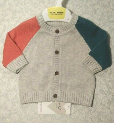 Marks & Spencer Newborn Baby Girls or Boys Long Sleeve Grey Mix Cotton Cardigan