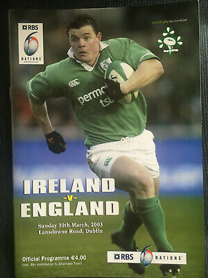ENGLAND GRAND SLAM Ireland v England 2003 Six Nations RUGBY Programme