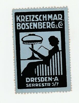 Germany- Lady reading under lamp- poster stamp-clean no gum