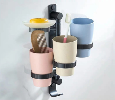Bathroom Black Space Aluminum Soap Dish Toothbrush Toothpaste Holder Tumbler Cup