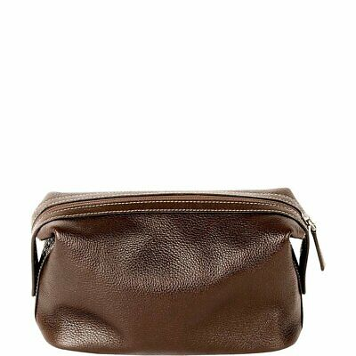 Boconi Tyler Tumbled Cargo Travel Kit, Leather Toiletry Bag in Coffee