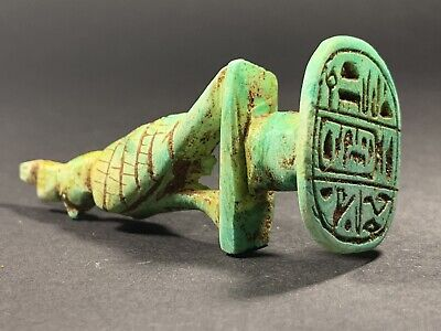 Very Rare Ancient Egyptian Horus Statue With Hieroglyphic Base Circa.770-332Bc
