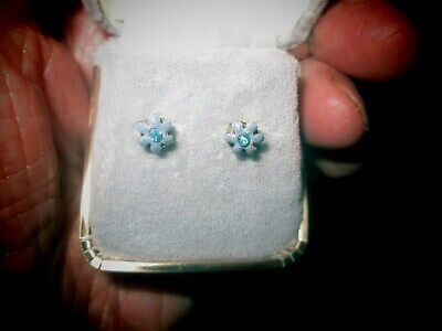Stunning Silver Flower Earrings with Saphire Blue Stones for Pierced Ears Cased