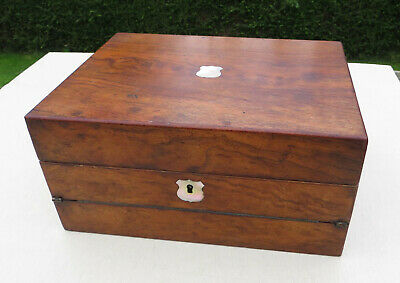 Antique Wooden Combination Work/Sewing Box and Writing Slope -  Mother of Pearl